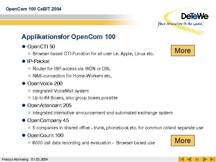 Open. Com 100 Ce. BIT 2004 Applikationsfor Open. Com 100 l Open. CTI 50