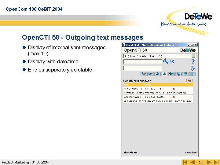 Open. Com 100 Ce. BIT 2004 Open. CTI 50 - Outgoing text messages l