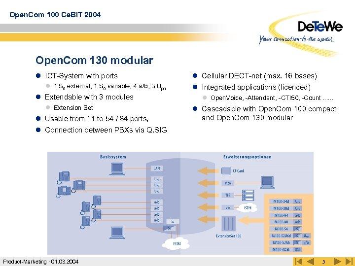 Open. Com 100 Ce. BIT 2004 Open. Com 130 modular l ICT-System with ports