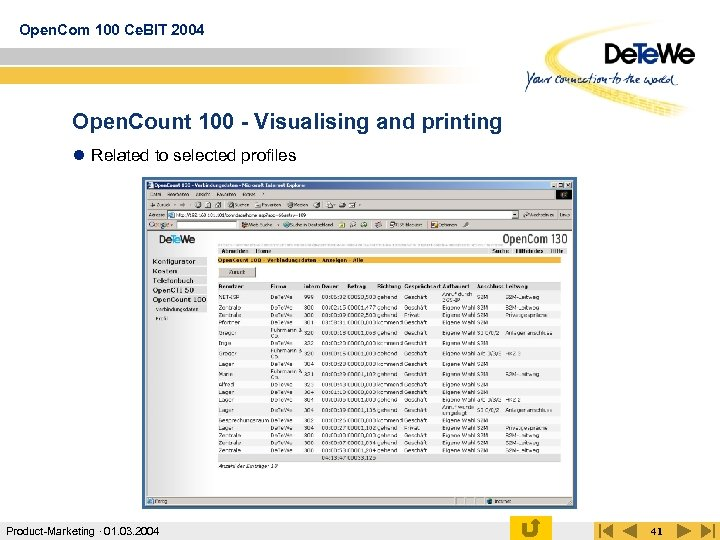 Open. Com 100 Ce. BIT 2004 Open. Count 100 - Visualising and printing l