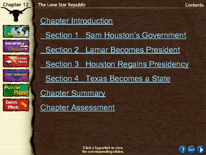 Chapter Introduction Section 1 Sam Houston's Government Section 2 Lamar Becomes President Section 3