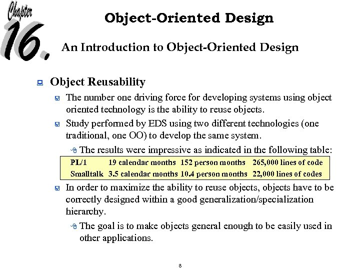 Object-Oriented Design An Introduction to Object-Oriented Design : Object Reusability < < The number