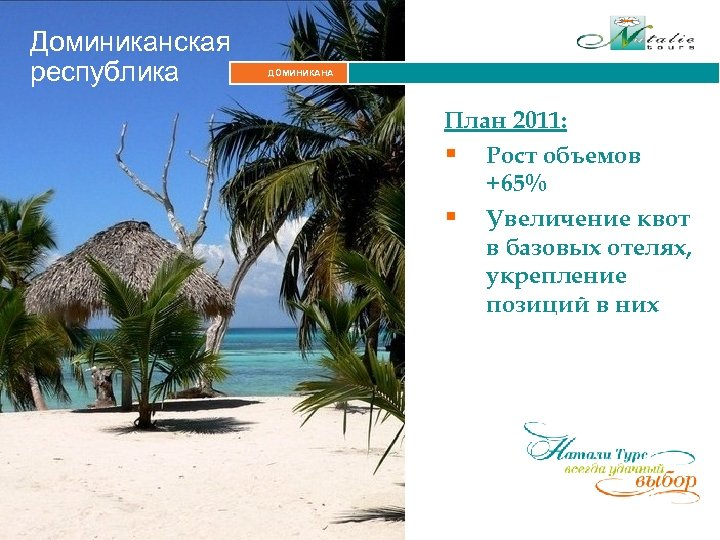 Доминиканская республика ДОМИНИКАНА Итальянские Альпы План 2011: § Рост объемов +65% § Увеличение квот