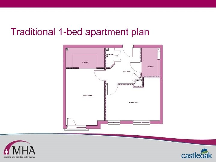 Traditional 1 -bed apartment plan
