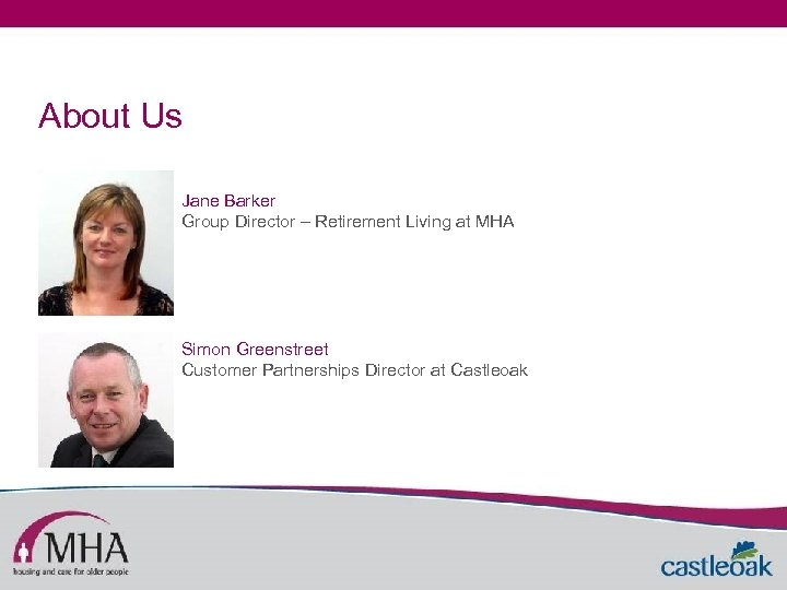 About Us Jane Barker Group Director – Retirement Living at MHA Simon Greenstreet Customer
