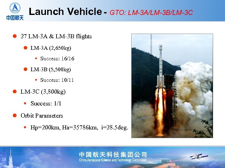 Launch Vehicle - GTO: LM-3 A/LM-3 B/LM-3 C l 27 LM-3 A & LM-3