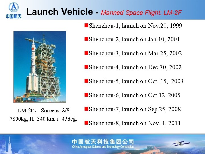 Launch Vehicle - Manned Space Flight: LM-2 F n. Shenzhou-1, launch on Nov. 20,