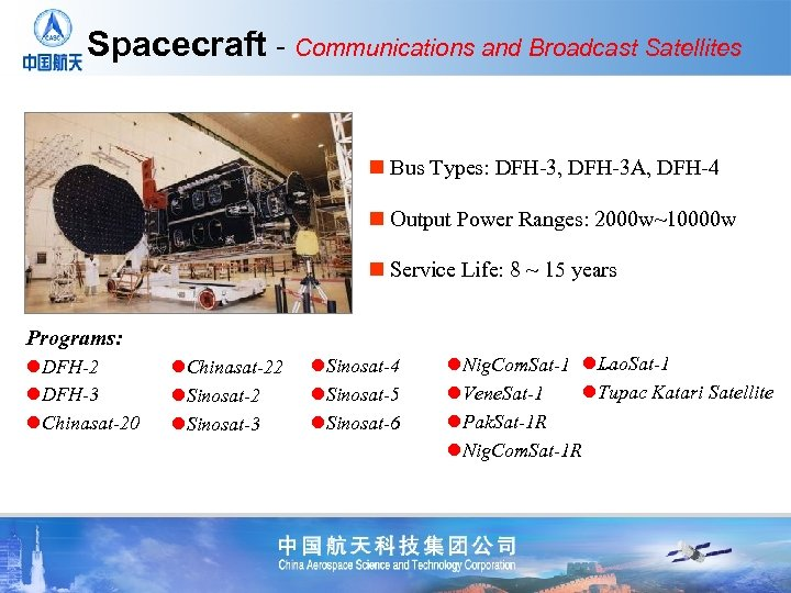 Spacecraft - Communications and Broadcast Satellites n Bus Types: DFH-3, DFH-3 A, DFH-4 n