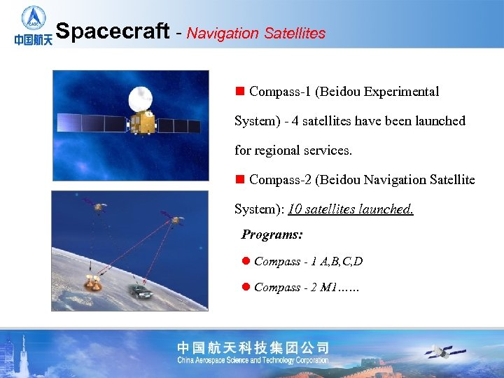 Spacecraft - Navigation Satellites n Compass-1 (Beidou Experimental System) - 4 satellites have been