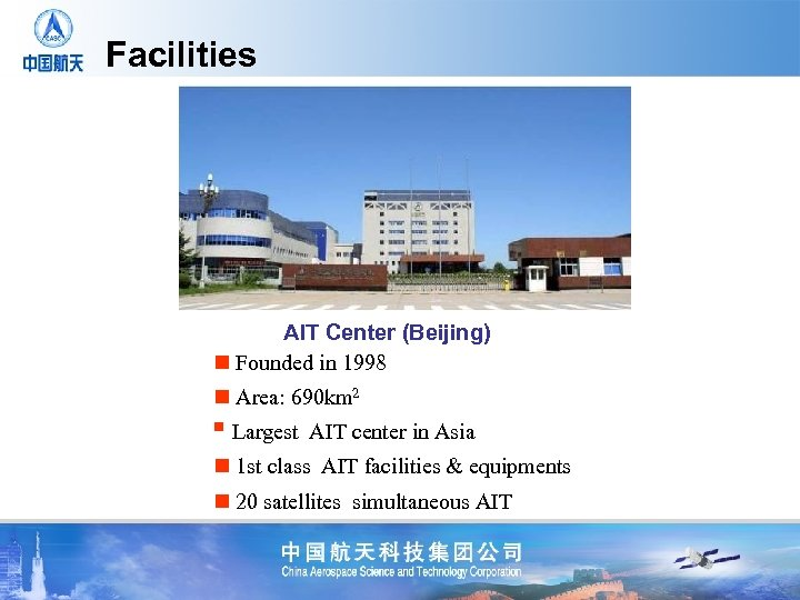 Facilities AIT Center (Beijing) n Founded in 1998 n Area: 690 km 2 n
