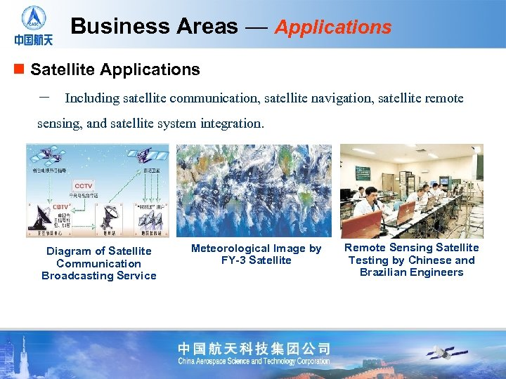 Business Areas — Applications n Satellite Applications - Including satellite communication, satellite navigation, satellite remote