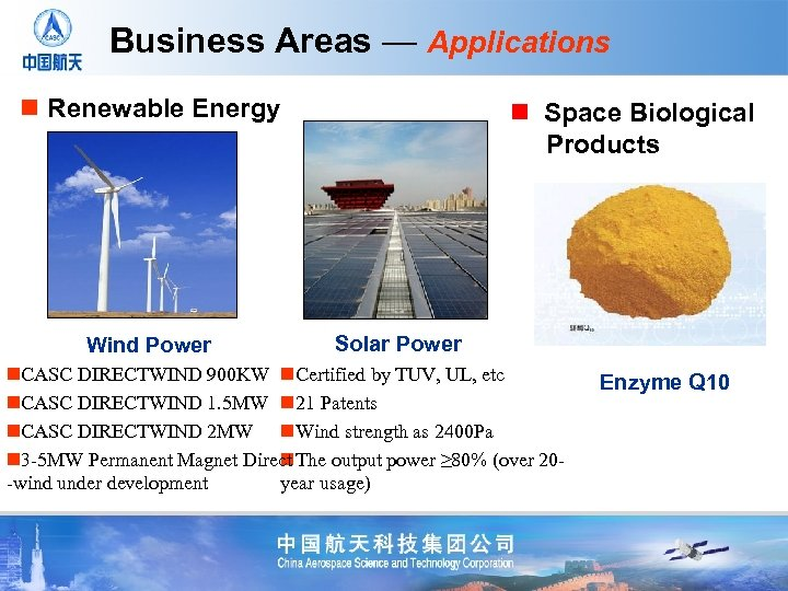 Business Areas — Applications n Renewable Energy Wind Power n Space Biological Products Solar