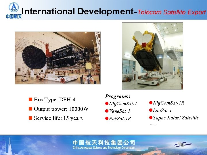 International Development–Telecom Satellite Export n Bus Type: DFH-4 n Output power: 10000 W n