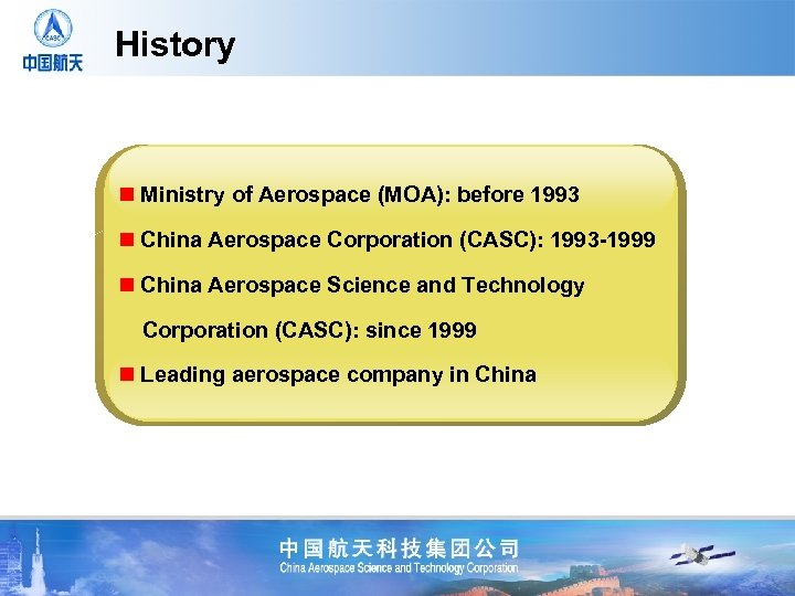 History n Ministry of Aerospace (MOA): before 1993 n China Aerospace Corporation (CASC): 1993