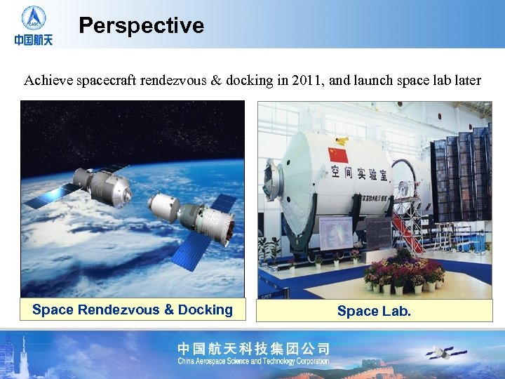 Perspective Achieve spacecraft rendezvous & docking in 2011, and launch space lab later Space
