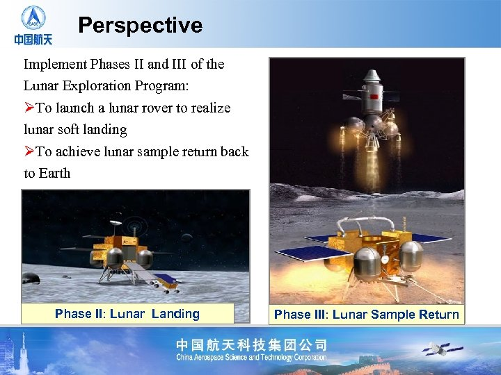 Perspective Implement Phases II and III of the Lunar Exploration Program: ØTo launch a