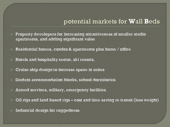 potential markets for Wall Beds Property developers for increasing attractiveness of smaller studio apartments,