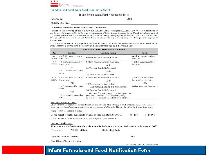 Infant Formula and Food Notification Form