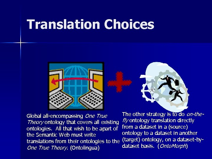 Translation Choices Global all-encompassing One True Theory ontology that covers all existing ontologies. All