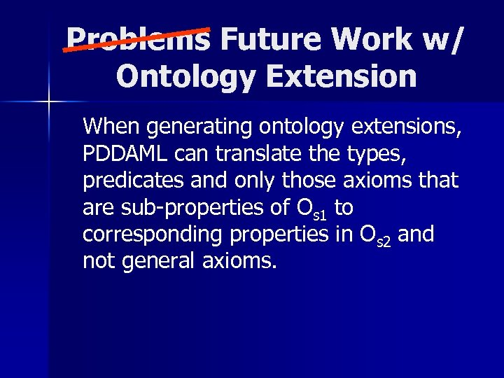 Problems Future Work w/ Ontology Extension When generating ontology extensions, PDDAML can translate the
