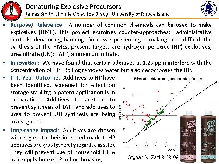 Denaturing Explosive Precursors James Smith; Jimmie Oxley Joe Brady University of Rhode Island §