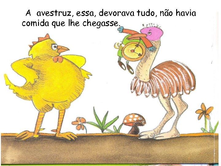A avestruz, essa, devorava tudo, não havia comida que lhe chegasse.