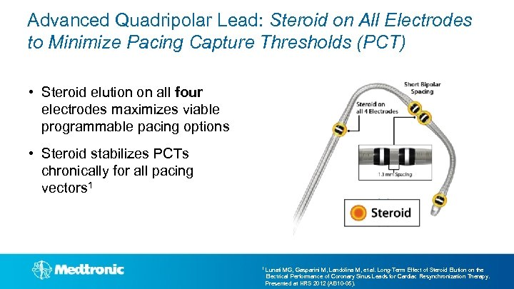 Advanced Quadripolar Lead: Steroid on All Electrodes to Minimize Pacing Capture Thresholds (PCT) •