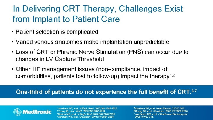 In Delivering CRT Therapy, Challenges Exist from Implant to Patient Care • Patient selection