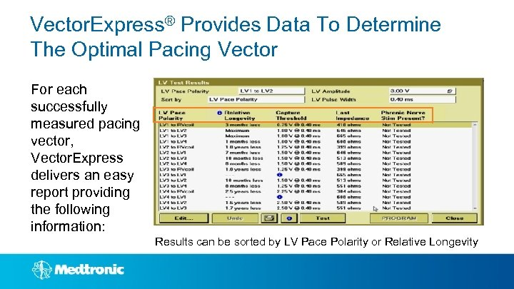 Vector. Express® Provides Data To Determine The Optimal Pacing Vector For each successfully measured