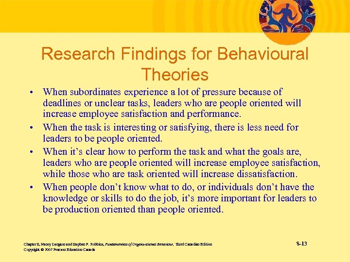 Research Findings for Behavioural Theories • When subordinates experience a lot of pressure because