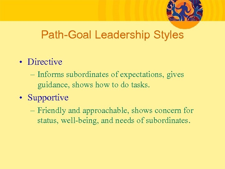 Path-Goal Leadership Styles • Directive – Informs subordinates of expectations, gives guidance, shows how