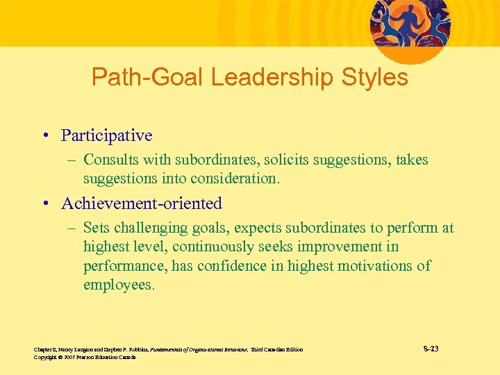 Path-Goal Leadership Styles • Participative – Consults with subordinates, solicits suggestions, takes suggestions into