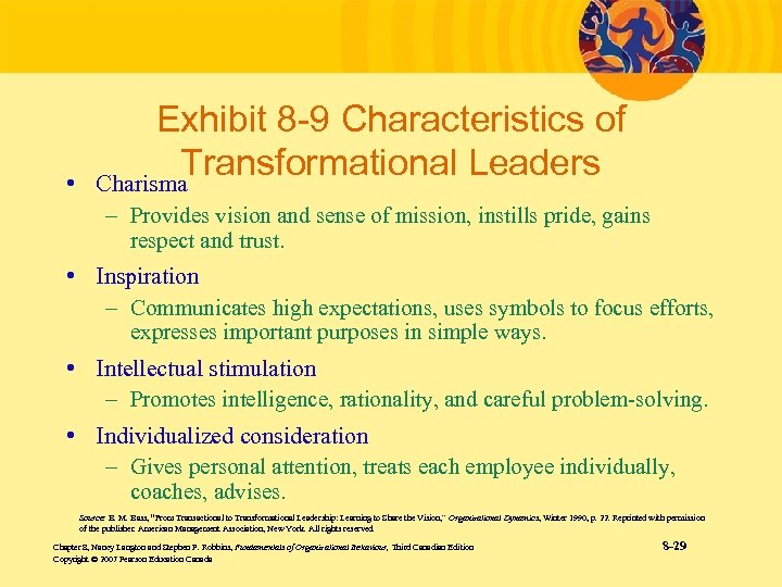 • Exhibit 8 -9 Characteristics of Transformational Leaders Charisma – Provides vision and