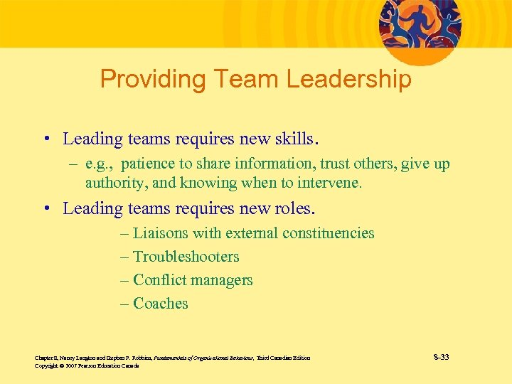 Providing Team Leadership • Leading teams requires new skills. – e. g. , patience