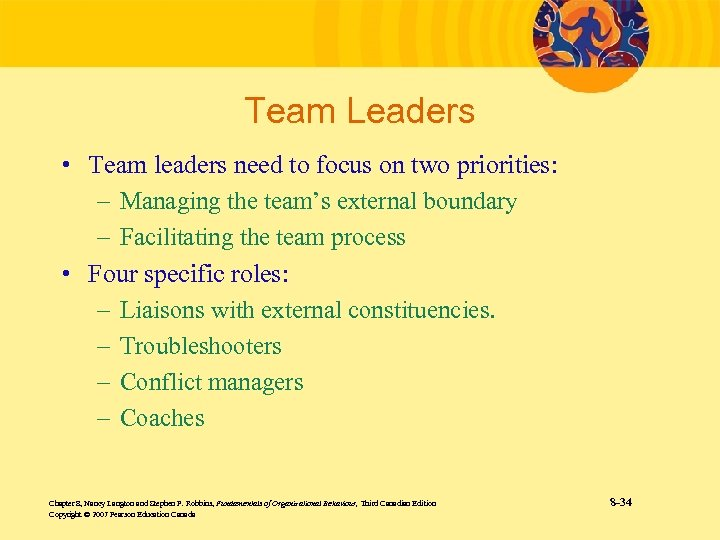 Team Leaders • Team leaders need to focus on two priorities: – Managing the