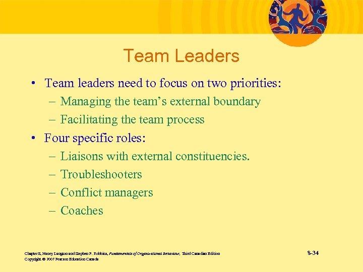 Team Leaders • Team leaders need to focus on two priorities: – Managing the