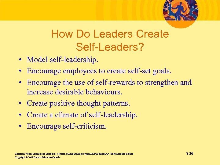 How Do Leaders Create Self-Leaders? • Model self-leadership. • Encourage employees to create self-set