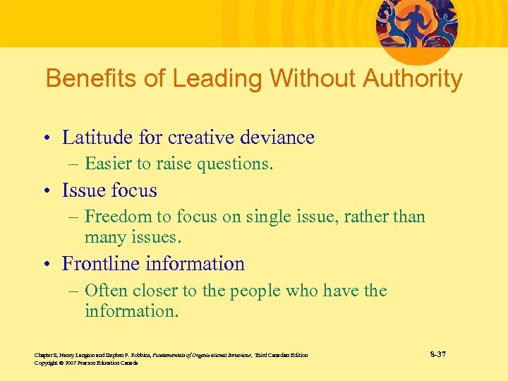 Benefits of Leading Without Authority • Latitude for creative deviance – Easier to raise