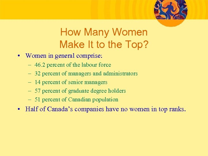 How Many Women Make It to the Top? • Women in general comprise: –