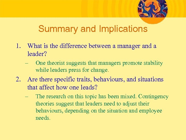 Summary and Implications 1. What is the difference between a manager and a leader?