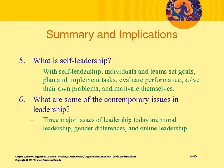 Summary and Implications 5. What is self-leadership? – With self-leadership, individuals and teams set