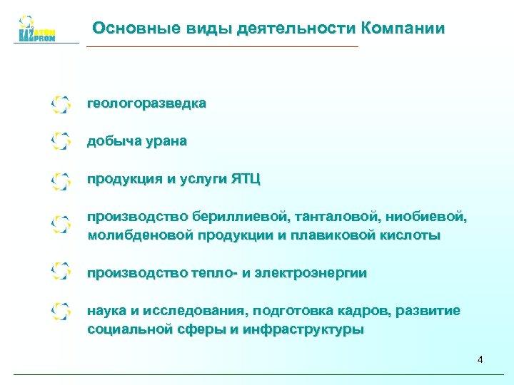 Основные виды деятельности Компании геологоразведка добыча урана продукция и услуги ЯТЦ производство бериллиевой, танталовой,