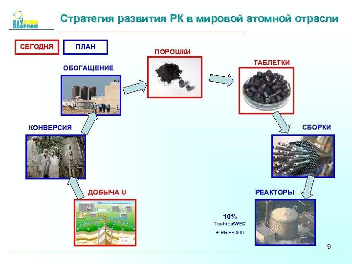 Стратегия развития РК в мировой атомной отрасли СЕГОДНЯ ПЛАН ПОРОШКИ ТАБЛЕТКИ ОБОГАЩЕНИЕ СБОРКИ КОНВЕРСИЯ