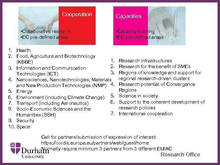Cooperation • Collaborative research • EC pre-defined areas 1. Health 2. Food, Agriculture and