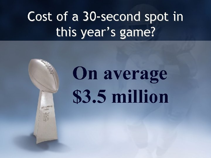 Cost of a 30 -second spot in this year's game? On average $3. 5