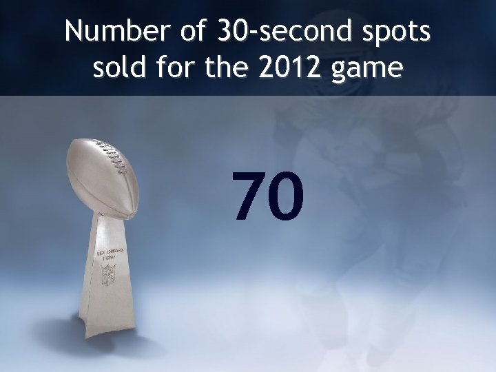 Number of 30 -second spots sold for the 2012 game 70