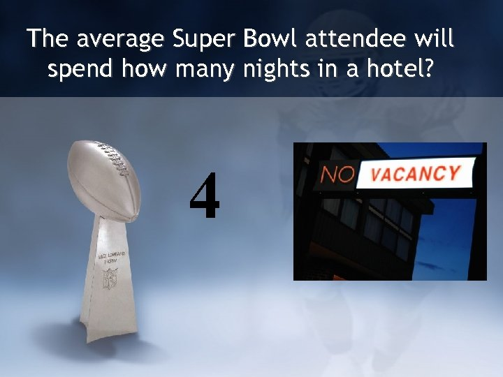 The average Super Bowl attendee will spend how many nights in a hotel? 4