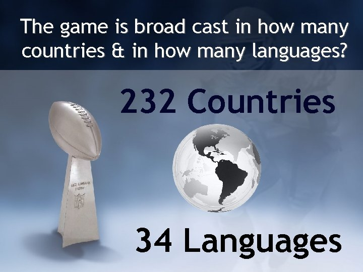 The game is broad cast in how many countries & in how many languages?
