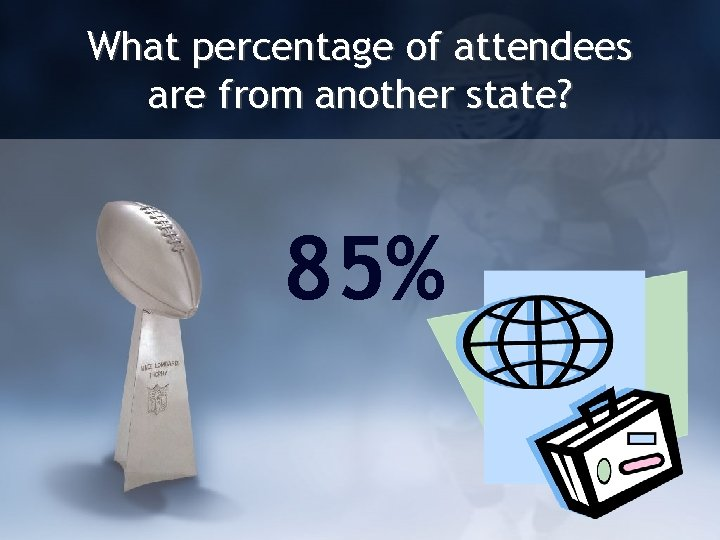 What percentage of attendees are from another state? 85%