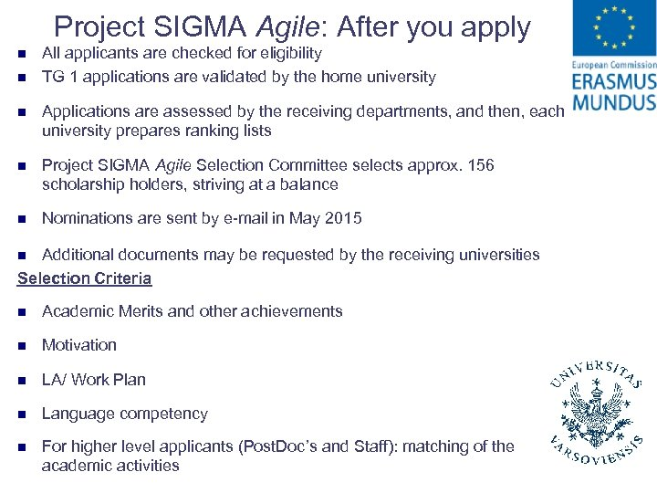 Project SIGMA Agile: After you apply n n All applicants are checked for eligibility